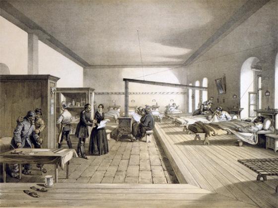 Lithographie: Florence Nightingale im Lazarett der Selimiye-Kaserne, Istanbul