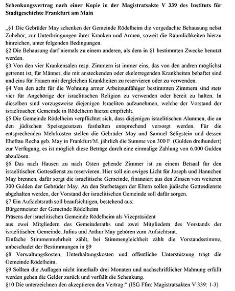 Dokument: Schenkungsvertrag Maysche Stifung, Rödelheim.