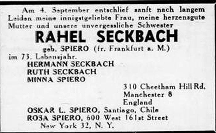 Todesanzeige, Rahel Seckbach