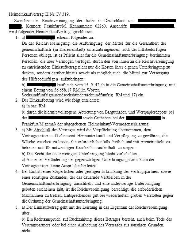"""Document: """"Heimeinkaufvertrag"""" Theresienstadt."""