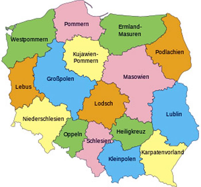 Kartenansicht Polen mit Wojwodschaft Ermland-Masuren (Geburtsregion von Rahel Seckbach)