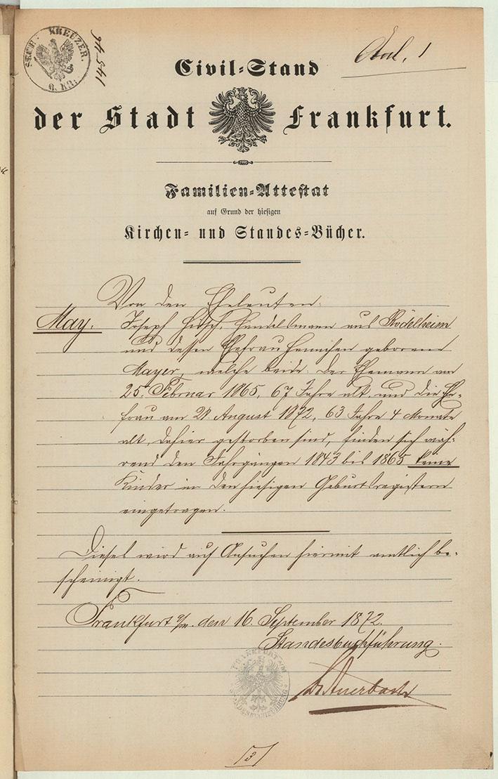 Dokument: Civilstand der Stadt Frankfurt am Main für die Eheleute May, 1872.