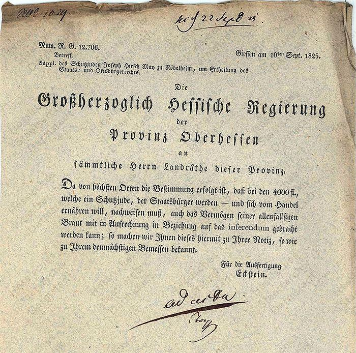 Dokument: Supp. des Schutzjuden Joseph Hirsch May zu Rödelheim, um Ertheilung des Staats- und Ortsbürgerrechts.