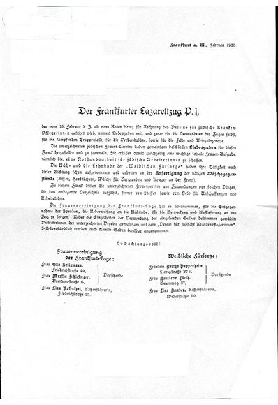Dokument: Dokument zum Lazarettzug P.I (1915) des Vereins für jüdische Krankenpflegerinnen zu Frankfurt am Main