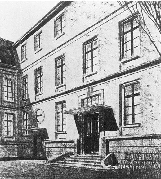 Zeichnung: Rothschild'sches Hospital, Röderbergweg 97, Eingangsbereich .