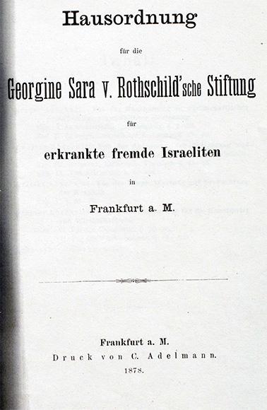 Dokument/Deckblatt: Rothschild'sches Hospital, Hausordnung von 1878 (Deckblatt).