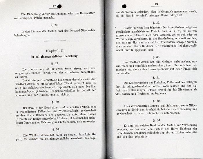 Dokument: Rothschild'sches Hospital, Hausordnung von 1878 (Auszug).
