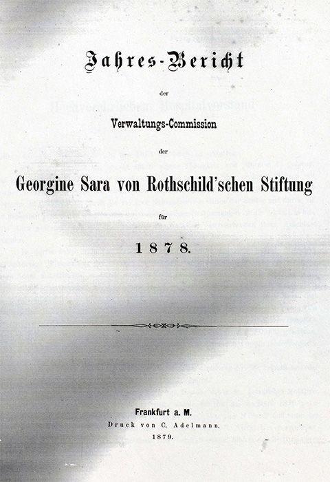 Dokument/Deckblatt: Rothschild'sches Hospital, Jahresbericht von 1878 (Deckblatt).