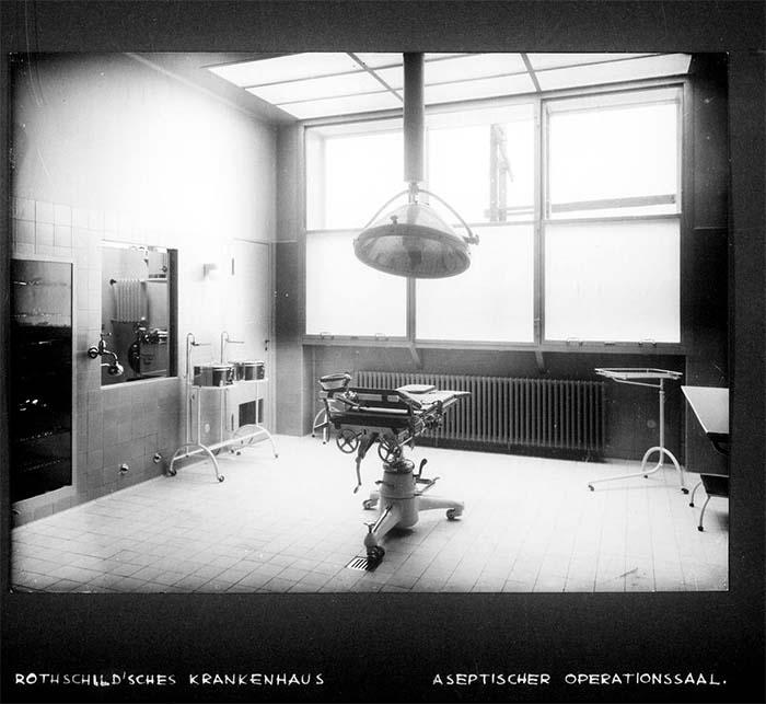 Fotografie: Rothschild'sches Hospital, aseptischer Operationssaal, um 1932.