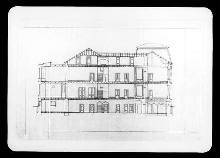 Zeichnung: Rothschild'sches Hospital, Bauskizze des Architekten Fritz Nathan zum Umbau 1932.
