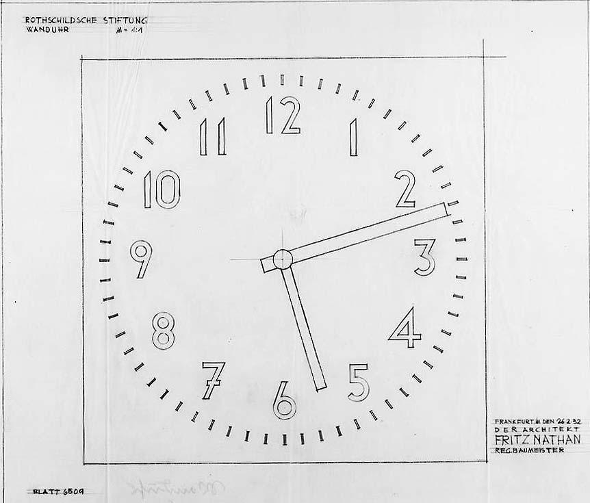 Zeichnung: Rothschild'sches Hospital, Wanduhr, 26.02.1932 (Signatur des Architekten Fritz Nathan).