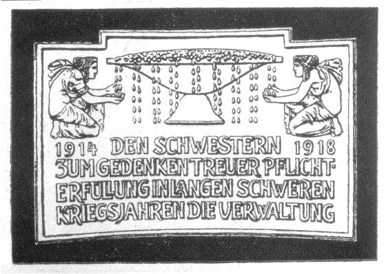 Gedenktafel: Ehrentafel für die Schwesternschaft des Vereins für jüdische Krankenpflegerinnen zu Frankfurt am Main, um 1918.