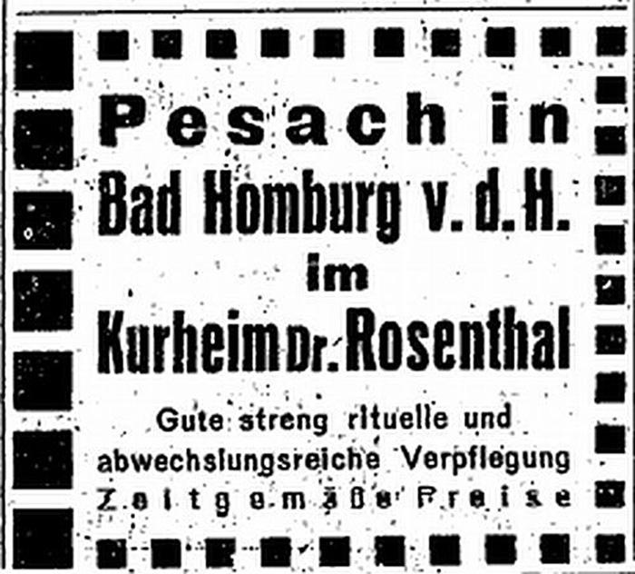 Anzeige: Bad Homburg, Sanatorium Dr. Rosenthal
